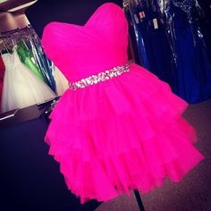 Hot pink dress with silver sparkly red