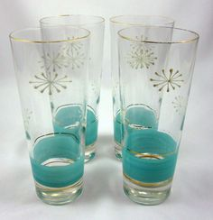 Mid Century Set 4 Glasses Frosted Aqua Blue Atomic White Stars Barware Hi-Ball #WhiteStarbursts