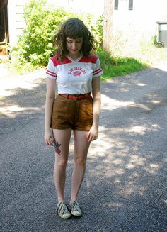 Football top and high waist shorts by Chloe Lorena, via Flickr