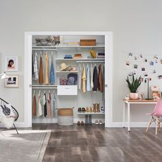 Your teen's wardrobe changes almost on the daily, so why not make sure their closet can keep up? ShelfTrack EVO is flexible and stylish to suit any decor. Featured: ShelfTrack EVO; available exclusively from U.S. authorized dealers #BedroomCloset #TeenRoom #HomeOrganization Teen Closet, Closet Bedroom, Kids Storage, Home Organization, Evo, Suit, Stylish, Design, Home Decor