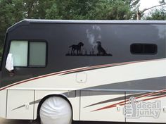 Custom Labrador Retriever decals applied to the side of an RV. DIY application makes it easy to customize your vehicle!