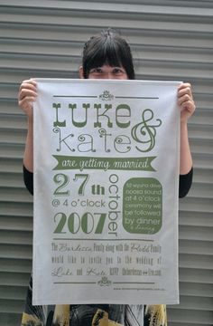 Brighten up your guests' washing up regime with these cute 'i do wedding tea towels'.