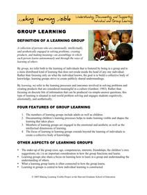 MakingLearningVisibleResources - Learning Group Definition