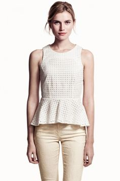 White See Through Hole Ladies Tank Peplum Top http://youblue.co/