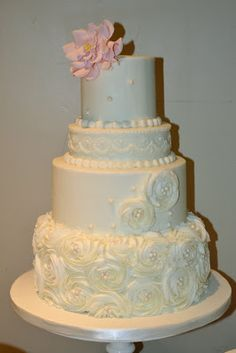 Sweet Cakes by Rebecca - buttercream wedding with rosettes, pearls and roses