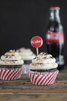 Coca-Cola Cupcakes with Salted Peanut Butter Frosting    Cupcakes:  1 cup Coca-Cola   1/2 cup unsweetened cocoa powder  4 tbsp. unsalted butter, cut into pieces  1/2 cup plus 2 tbsp. granulated sugar  1/4 cup firmly packed dark brown sugar  1 cup all-purpose flour  1/2 tsp. plus 1/8  tsp. baking soda  1/2  tsp. salt  1 eggs  Preheat the oven to 350