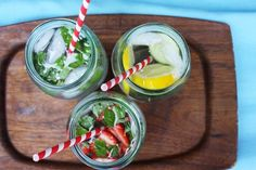 homemade infused waters: lemon + cucumber, strawberry + basil, mint + raspberry