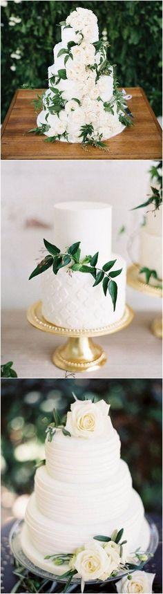 Trend wedding cake white fresh flowers floral greenery fondant tier
