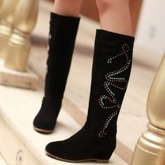 Knee High Black Suede Rhinestone Design Plus Size Boots