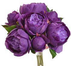 Silk flower bouquet-Peony bouquet in Purple color