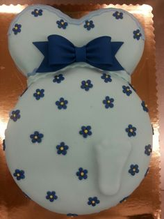 Pregnant Belly with baby foot Cake by Tonya Baker