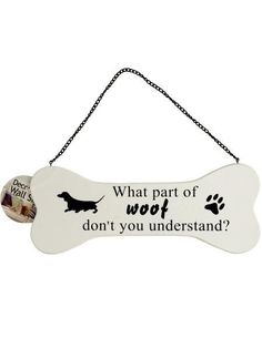 Perfect for dog lovers, grooming salons, veterinary offices and more, this Dog Bone Wall Sign features a white composite wood sign in a bone shape with a decorative print of a black dog, paw print and