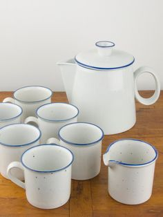 Niels Refsgaard Danish Modern Dansk Blue Mist Coffee Pot Creamer & Mugs Porcelain Ceramic Stoneware Serving Set w/ Blue Denmark Backstamp. $68.00, via Etsy.