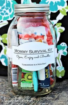 How To Make A Quick & Easy Mason Jar Survival Kit For Mom | Survival Kit Gift in a Jar Craft Ideas By DIY Ready. http://diyready.com/60-cute-and-easy-diy-gifts-in-a-jar-christmas-gift-ideas/