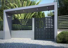 Swing gates / aluminum / with bars / panel Fence Gate Design, Modern Fence Design, Main Gate Design, House Gate Design, Gate House, Entrance Design, Entrance Gates, House Entrance, Door Design