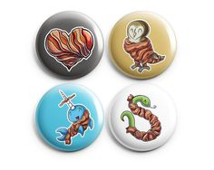 Set of 4 Bacon Lovers Pinback Buttons, Pins, Buttons, Badge, Cute Animal Art