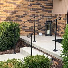 Single Post ornamental hand rail 1 or 2 step railing for stairs steel handrail with hardware! Porch Step Railing, Porch Steps, Front Steps, Porch Handrails, Iron Handrails, Exterior Handrail, Outdoor Stair Railing, Steel Handrail, Metal Railings