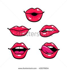 Female lips set. Mouth with a kiss, smile, tongue, teeth. Vector comic illustration in pop art retro style isolated on white background. Lips sign. Lips icon. Lips element. Lips object. - stock vector
