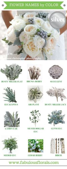 Natural Silver/ grey flower accents | Wedding flower ideas | Non traditional wedding flowers