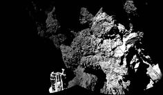 Rosetta's lander Philae is safely on the surface of Comet 67P/Churyumov-Gerasimenko, as these first two CIVA images confirm. One of the lander's three feet can be seen in the foreground. The image is a two-image mosaic. The full panoramic from CIVA will be delivered in this afternoon's press briefing at 13:00 GMT/14:00 CET.