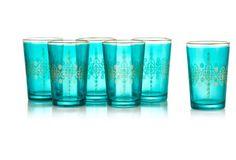 S/6 Moroccan Tea Glasses, Teal Diamond