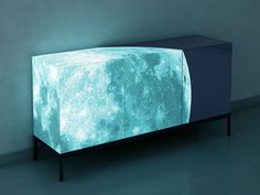 Full Moon Credenza - Photo realistic image of moon coated with glow-in-the-dark eco-material.