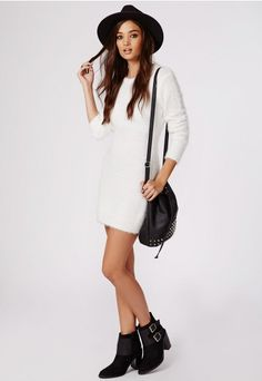 Dillan Knitted Fluffy Bodycon Dress White - Knitwear - Missguided