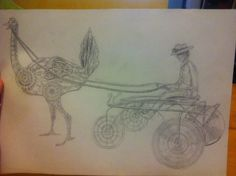 Pencil drawing of a steampunk ostrich