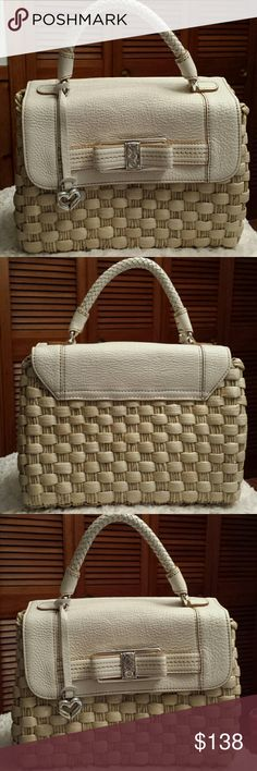 NWOT Brighton ❤Bonita Straw/Leather Bag NWOT Stunning Brighton Creamy White leather and  Natural Straw Bag / Braided Strap / magnetic closure / interior zip pocket,  2 slip pockets / Zip sidewall pocket, and key leash Brighton  Bags Satchels