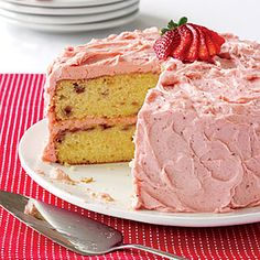 Pretty-in-Pink Strawberry Cake | MyRecipes.com