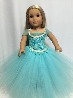 "Beautiful Aqua  Green tutu dress American Girl Doll clothes fits all 18"" dolls"