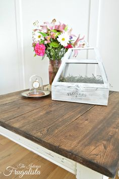 A farmhouse side table top washed with dark walnut stain | The Interior Frugalista