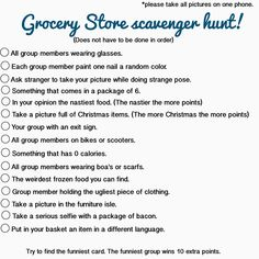 Grocery store scavenger hunt, could be done at Walmart, Kroger, Target or any other local grocery stores. Great idea for a teen birthday party or just a fun activity for a group of guys or girls! Sleepover Activities, Activities For Girls, Games For Teens, Party Activities, Youth Games, Fun Games, Birthday Activities, Scavenger Hunt Party, Adult Scavenger Hunt