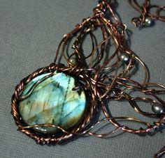 Art Nouveau Aqua Flash Labradorite Wirewrapped Statement Necklace by Woojoo@Etsy. ($97)