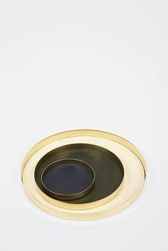 Brass and Leather Trays by Skultuna  