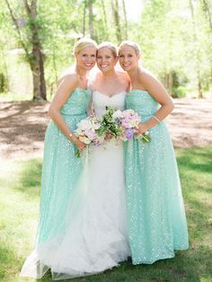 Mint and gold maids dresses. Shoshanna.   photography by http://kateholstein.com/