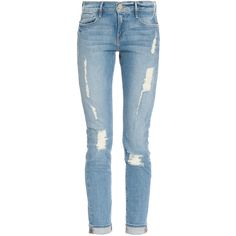 FRAME DENIM Le Garcon Destroy Jean ($300) ❤ liked on Polyvore featuring jeans, pants, bottoms, calças, frame denim, frame denim jeans, destruction jeans, distressed jeans and distressing jeans