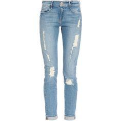 FRAME DENIM Le Garcon Destroy Jean (€270) ❤ liked on Polyvore featuring jeans, pants, bottoms, calças, 5 pocket jeans, ripped jeans, torn jeans, frame denim and distressed jeans