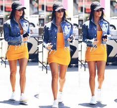 Dress  Yellow  Mustard  Tank  Sleeveless  Mini  Arm  Leg  Shoes  Sneakers  Converse  Flats  White  Hat  Black  Bracelet  Gold  Multiple  Nail  Pink  Baby  Light  Summer  Spring  P455