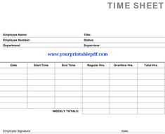 Printable PDF Timesheets For Employees Use This Printable PDF Timesheets  For Employees To Track The Hours Worked By Your Employees.  Free Blank Time Sheets