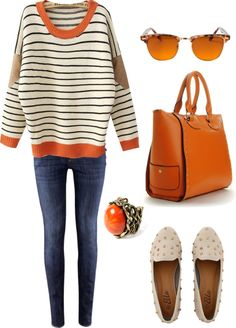 "Great shopping outfit, big bag for all your stuff - ""VintageOrange"" by elisamaffei ❤ liked on Polyvore"