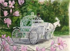 A work in progress. Water Color painting of my Cinderella Carriage by MaryAnne Goodwin