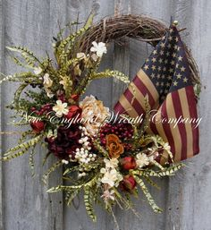 Patriotic Wreath, Spring Wreath, Floral Designer Wreath, Americana, Fourth of July, Williamsburg, Tea Stained Flag on Etsy, $169.00
