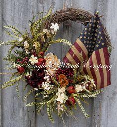 Patriotic Wreath Spring Wreath Floral Designer by NewEnglandWreath, $169.00