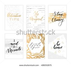 Vector hand drawn modern cards. Trendy hand written calligraphy postcards. Elegant calligraphic quotes and phrases.
