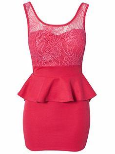 Lace Detail Peplum Dress