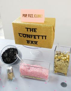 All the goods for a DIY confetti bar.