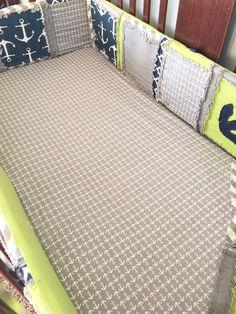 Nautical Crib Bedding For Baby Boys Nursery in Lime Green, Grey, Navy Blue