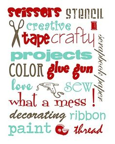 Free Craft Room printable (in different colour combinations) :-)#Repin By:Pinterest++ for iPad#