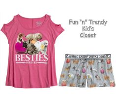 NWT Justice Girls Size 8 10 Puppy Cold Shoulder Tee Shirt Top & Shorts 2-PC SET #Justice #Everyday